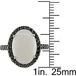 14k Gold Opal and 1/2ct TDW Black Diamond Ring