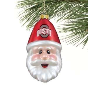 Ohio State Buckeyes Blown Glass Santa Cap Ornament Sports
