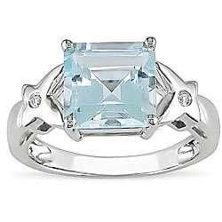 10k White Gold Square Swiss Blue Topaz Ring