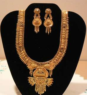 GRAM GOLD PLATED BRIDAL NECKLACE EARRINGS SET INDIAN WEDDING