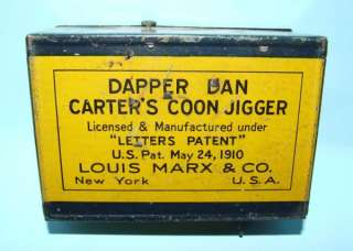 1910 MARX DAPPER DAN COON JIGGER TIN WIND UP TOY & BOX
