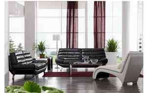 2918 BLACK Modern Bonded Leather SOFA SET contemporary