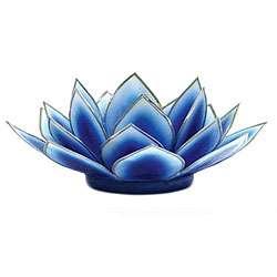 Capiz Shell Dahlia Dark Blue Lotus Tea Light (Philippines)