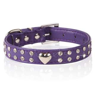 Purple Rhinestones Crystal Heart leather Pet Cat Dog Collar Large L
