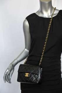 CHANEL Black Quilted Leather Gold CC Chain Flap Bag Purse Handbag Mini