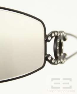 Chanel Black Rhinestone Logo Shield Sunglasses