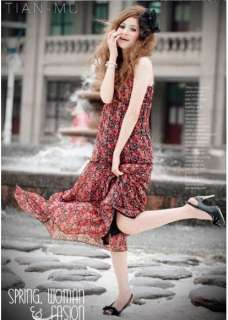 New Evening Chiffon Floral Cocktail Long Dress #20 Red