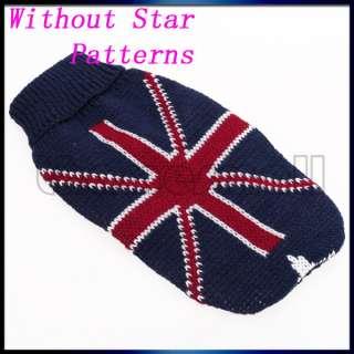 Pet Dog Puppy Turtleneck Sweater w/ UK Flag Union Jack Pattern Fashion