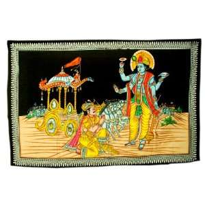 Indian Cotton Lord Krishna Hand Painted Pretty Wall