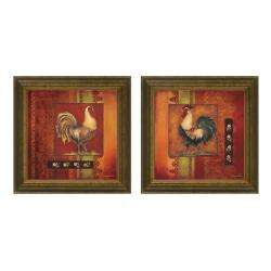 Kimberly Poloson Murano Rooster Framed 2 piece Art Set