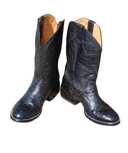 Jurassic Mens Black Ostrich Cowboy Boots