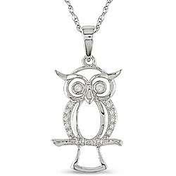 10k White Gold Diamond Accent Owl Necklace (H I, I2 I3)