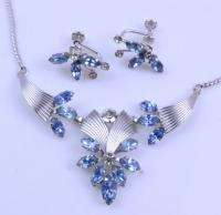 VINTAGE STERLING SILVER BLUE RHINESTONE EARRING NECKLACE SET SIGNED