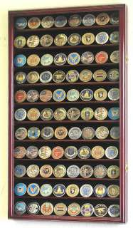 Large Military Challenge Coin Display Rack Case Cabinet