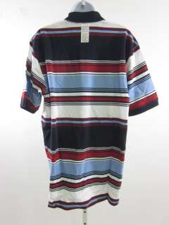 NWT IZOD Mens Blue Red White Striped Polo Shirt Sz M