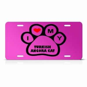 Turkish Angora Cats Pink Novelty Animal Metal License Plate Wall Sign