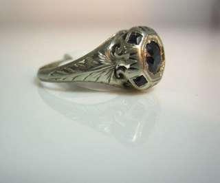 ANTIQUE VINTAGE ART DECO 20K WHITE GOLD SAPPHIRE DIAMOND FILIGREE RING