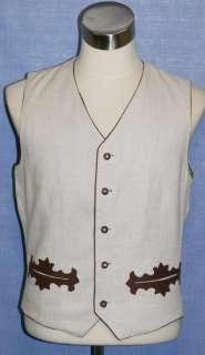 Men German LINEN Hunting Ranch Western Jacket VEST 40 M