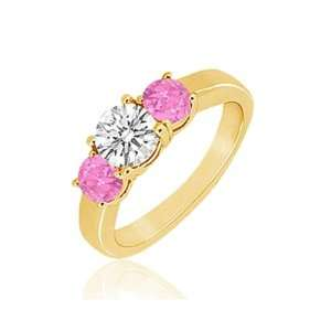 Pink Sapphire (AA+ Clarity,Pink Color) Three Stone Ring in 14K Yellow