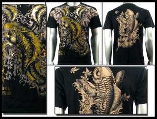 Couture T Shirt Tattoo Rock AB21 Sz M L XL XXL Koi Fish Biker Japanese