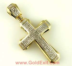 10K YELLOW GOLD & WHITE GOLD DIAMOND CROSS PENDANT NEW EARRING