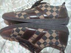 Louis Vuitton Damier Mens Lace Up Leather Sneakers Size Sz US 12 (LV