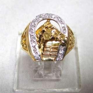 14K Gold Mens Good Luck Horse Shoe Ring