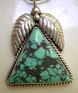 NAVAJO S. SILVER TURQUOISE PENDANT & CHAIN SIGNED HN 15.2G
