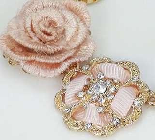 Plated Rhinestone Enamel Flower Rose Pearl Bracelet New Comming