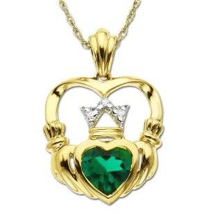 10k White Gold Created Emerald 4 Leaf Clover Pendant, 18 Jewelry