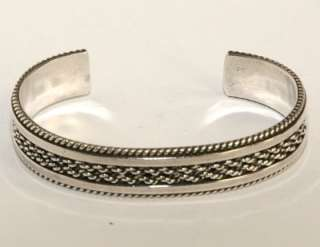 Indian 925 Sterling Silver Etched RopeTrim HEAVY Bracelet 27.9g