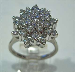 LADIES VINTAGE 14K WHITE GOLD DIAMOND CLUSTER RING