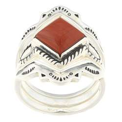 Southwest Moon Sterling Silver Red Jasper Stackable Rings (Set of 3