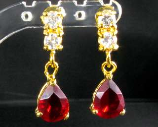 Oval Cut Red Ruby Yellow Gold GP Drop Stud Earrings