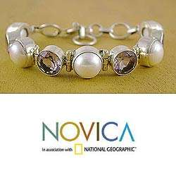 Silver Pearl and Amethyst Goddess Bracelet (India)  Overstock