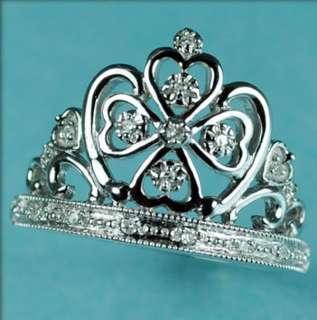 10K Gold Ladies Crown Genuine Diamond Ring SIZE 7