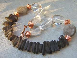 GENUINE DRUZY SMOKY QUARTZ CLEAR CRYSTAL GEODE BIG DESIGNER NECKLACE