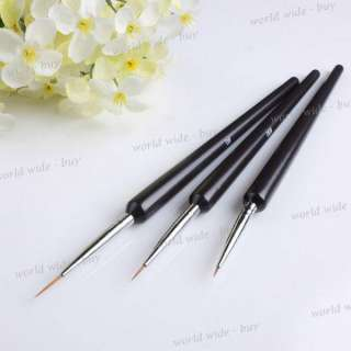 pcs Pro UV Gel Nail Art Design Brush Set Black New