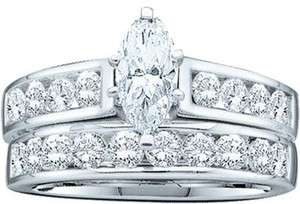 14K LADIES WHITE GOLD DIAMOND BRIDAL ENGAGEMENT WEDDING BAND RING 1.00