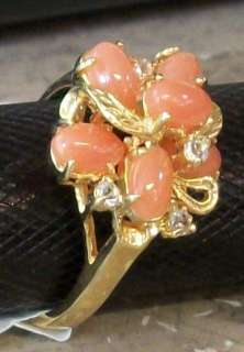 18KP Yellow Gold Plated Hawaii Pink Coral Cubic CZ Ring