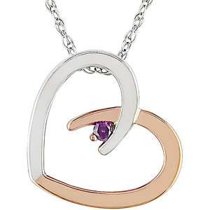 com Pink Diamond Accent Heart Shaped 10kt White and Pink Gold Pendant