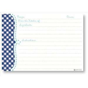 Recipe Cards   Navy Gingham Scalloped Edge