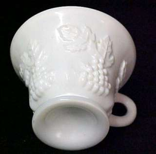 Indiana Grape Milk White Glass Footed Coffee Tea Cup |