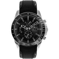 Jacques Lemans Mens Liverpool DayDate Black Leather Chronograph Watch