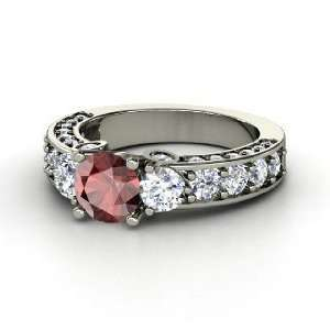 Rebecca Ring, Round Red Garnet Platinum Ring with Diamond Jewelry
