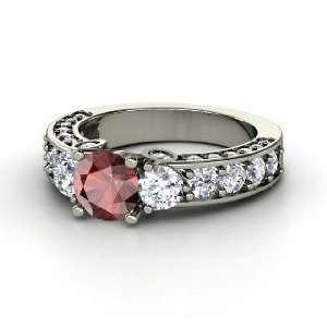 Rebecca Ring, Round Red Garnet Platinum Ring with Diamond Jewelry