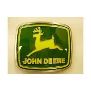 JOHN DEERE Logo Belt Buckle Yellow Green square