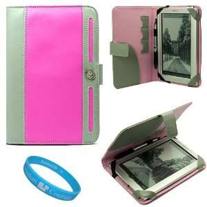 com Pink and Grey Protective Leather Case Cover with Accessory Slots