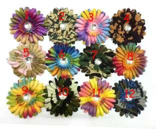 Crystal Centered Rainbow Flower Girl Baby Daisy Hair Clips Bow