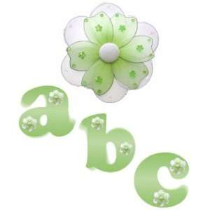 com Green Daisy Flower Alphabet Letter Name Wall Sticker baby nursery